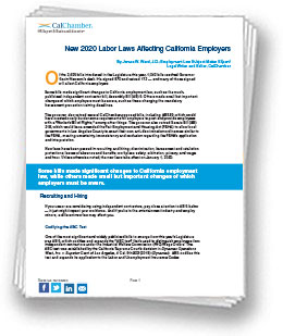 California New Laws 2020.New 2020 Labor Laws Affecting California Employers
