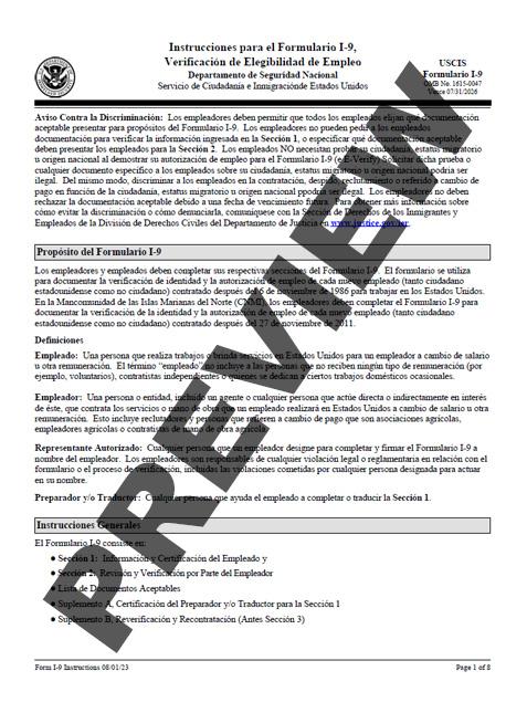 form i-9 spanish  I-11 - Employment Eligibility Verification - Instructions ...