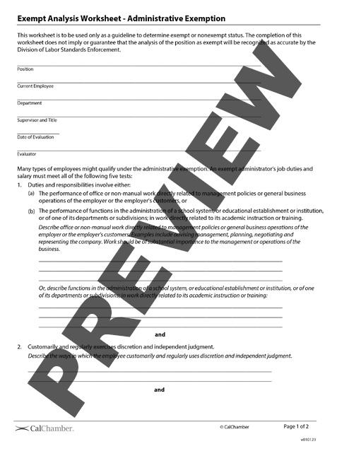 Exempt Analysis Worksheet - Administrative Exemption